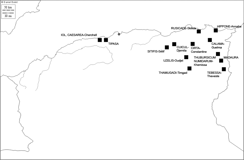 Algerien, Karte der antiken Theaterstätten (Karte D. Dalet; Bearbeitung R. Gogräfe)