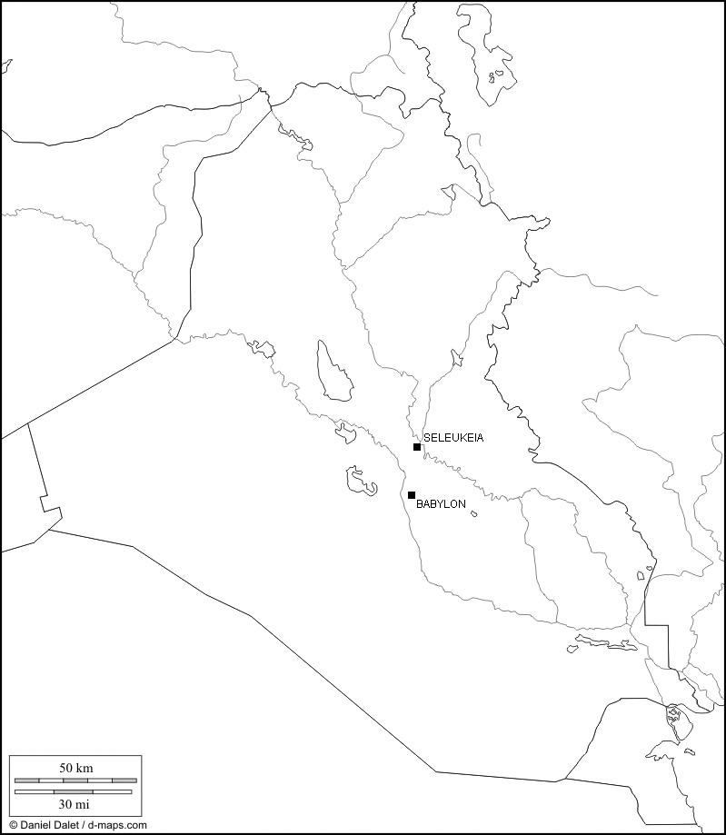 Irak, Karte der antiken Theaterstätte (Karte D. Dalet, bearb. Rüdiger Gogräfe)