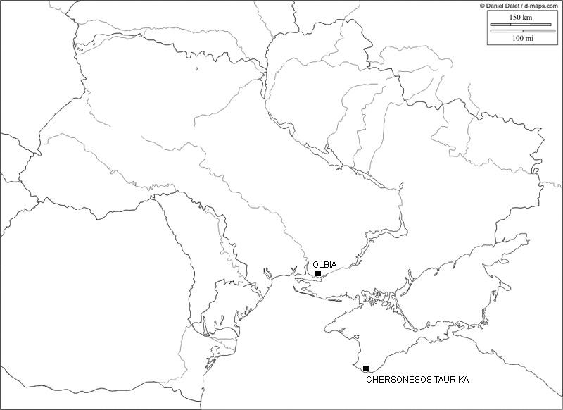 Ukraine, Karte der antiken Theaterstätten (Karte D. Dalet; Bearbeitung R. Gogräfe)
